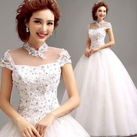 Wholesale Sexy Chinese perspective lace collar short sleeved princess bride wedding dress new winter