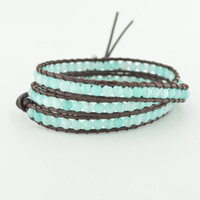 abalone food - Top Quality Graduated Beads Wrap Genuine Leather Bracelet Fashion Famous Brand Hot Sale Bracelet