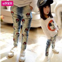 Wholesale 2014 Retail Top Quality girl cartoon denim trousers children fashion Minnie skinny jeans yrs in stock