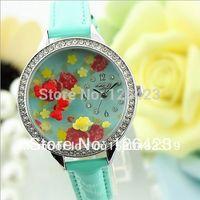 belt buckle bowl - Korean MINI watch double layer glass diamond female watch students bowl watch flower angel