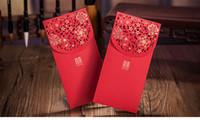 al por mayor bolsas de eventos-Red Packet Money Envelope Chinese Wedding Money Gift bolsa Hot Stamping Hollow Out Flor favor de la boda Evento Suministros Paquete de 50