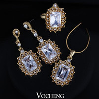 gold jewelry - Jewelry Set for Brides Fashion Design18K Gold Plated Fashion Carved Big Rectangle CZ Stone Vs Vocheng Jewelry