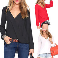 Cheap 2015 Summer Spring Hot Chiffon Shirt Women Blouses Red Black White Women's Tops Plus Size XXL