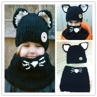 baby grey suit - Lovely Fashion cat ear winter windproof hats and scarf set for kids crochet headgear soft warm hat baby winter beanies kids scarf hat suits
