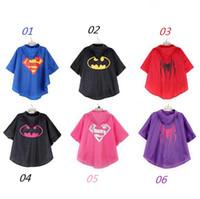 Wholesale New Children Kids superman batman spiderman superhero Rain Coat Raincoats waterproof children Raincoat colours with bags