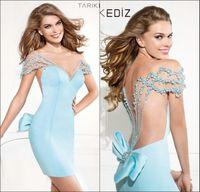 Wholesale Amazing Tarik Ediz Sweetheart Sexy Short Mini Light Blue Sheer Illusion Open Back Cocktail Dresses Cheap Sexy Party Celebrity Gown