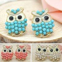 owl earrings - Fashion Vintage Pearl Owl earrings jewelry Lovely stylish earrings animals accessories stud earrings FMHM0452 S5