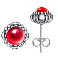 Wholesale New Arrival Sterling Silver With Light Red Crystal Stud Earrings For Girls Women Gift Fashion Jewelry