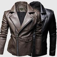 2015 fashion oblique zipper jacket men short paragraph Slim washed leather motorcycle jacket multi zipper Mens Casual leather collar