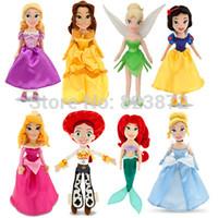 belle plush doll - Original Tinkerbell Little Mermaid Rapunzel Cinderella Belle Sleeping Beauty Merida Mini Princess Plush Dolls for Girls Toys