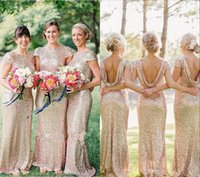 Wholesale 2015 Plus Size Sequins Bridesmaid Dresses Floor Length Backless Blingbling Wedding Party Gowns For Bridesmaids Pregnant Dress Custom Made