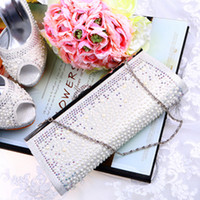 bags imitation - Wedding Bridal Hand Bags for Party Prom Evening Clutches Purse Imitation Pearls Rhinestone Crystal In Stock No Risking