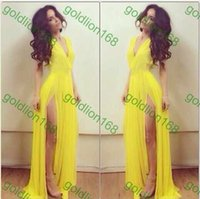 Cheap New Arrival Fashion Club Stage Celebrity Bandage Bodycon Open Leg Meimaid Yellow Chiffon V Neck Cocktail Long Dress