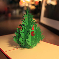 wholesale gift cards - Handmade Creative Kirigami Origami D Pop UP Greeting Gift Christmas Cards with Christmas Tree set of