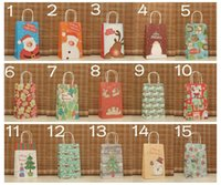 """Cheap New christmas 15 style trumpet size 21cm * 13cm * 8 (8""""*5""""*3"""") Christmas gift bag paper bag with handle Packaging Bag"""