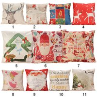 Wholesale 43 cm Cartoon Deer Santa Claus Printed Cotton Linen Pillow Case Cushion Cover Christmas Home Decorative Cushion Covers