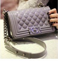 quilted handbags - Silicone Handbag Pouch Quilted Flap Le Boy Jelly Clutch Shoulder Chain Bag Club