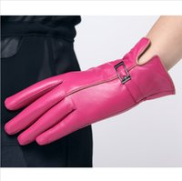 gloves leather gloves - Winter Fashion100 Genuine Leather natrual Sheepskin Women Gloves Warm Fleece Gloves Motorcycle Cycling Leather Gloves for Women