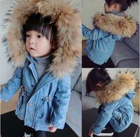 baby boy denim jacket - Girls Boys Winter Coats Kids Denim Outerwear Babies Girl Boy Fur Hooded Coat Children Tops Child Jackets Baby Clothes