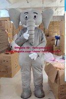 Brand New gris Elephant Elephish Elephould Comme Avec White Courte Ivoire Mascot Costume Mascotte Party Adulte No.484 Livraison gratuite