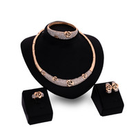 Wholesale Luxury Women Jewelry set high grade Diamond alloy necklace earrings bracelet ring piece set Europe socialite party rose jewelry