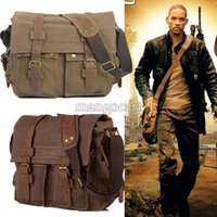 Wholesale Big Discount New Vintage Men s Canvas Leather Satchel School Military Shoulder Bag Messenger Bag b7 SV001142