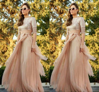 Wholesale 2016 Sparkly Sequined Top Long Sleeves Cheap Maid of Honor Gowns A Line Ruffles Sweep Train Sexy Crew Neck Bridesmaid Prom Dresses