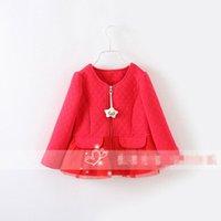 Cheap New Hot Sale Baby Lovely Smile Star Zipper jacket Girls long Sleeve Red Skirt Coat Rufle Lace Winter Wear Double Pocket Jackets