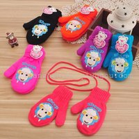 Wholesale cute sweet kids Jacquard mittens Korean fashion cute bear gloves childrens with rope manufacturers glove