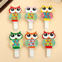 Wholesale Multicolor Wooden Clip Owl Mini Photo Card Clothespin Peg Memo Paper Decoration Craft Holder School Supplies