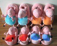 Cheap Pink pig family Plush Slippers Sister pig Mummy pig and Daddy Pig indoor Slipper plush shoes hot sale
