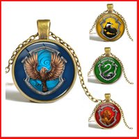 Wholesale 8 colors Harry Potter necklaces Hogwarts Gryffindor Ravenclaw Hufflepuff Slytherin glass time gem cabochon necklaces pendants