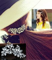 Wholesale New Fashion Women Noble Crystal Flower Barrette Lady Floral Rhinestone Hair Clips Hot Selling Free JH02061