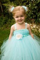 aqua hands - Lovely Aqua Blue Flower Girls Dresses For Weddings Spaghetti Straps Tulle Kids Pageant Gowns First Communion Dress With Handmade Flower
