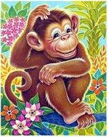 animal crossing monkey - Hot Sale Diy diamond painting Animals Squirrel Cat Monkey needlework D square diamond embroidery cross stitch kit diamond paint