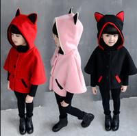 baby outerwear cape - 2016 Cartoon Design Baby Hooded With Big Ears Girl Clothes Coat Cloak Toddler Cape For Girls Coats Jackets Kid Outerwear