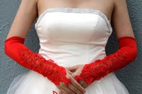 cotton gloves white - Red White Luxury Lace Beads Short Bridal Gloves Cotton Cheap Sexy In Stock Low Price Bridal Accessories