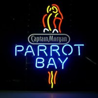 beer rum - 17 quot x14 quot Captain Mogan Parrot Bay Spiced Rum Beer Ba Design Real Glass Neon Light Signs Bar Pub Restaurant Billiards Shops Display Signboards
