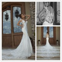 galia lahav - Graceful Galia Lahav Mermaid Wedding Dresses Lace Appliques V Neck Sleeveless Sheer Pearls Back Chapel Train Satin Bridal Gowns