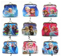 Wholesale Girls D Cartoon Frozen Coin Purse with iron button Anna Elsa Olaf shell bag wallet Purses children Gifts For Holidays Christmas free