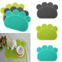 Wholesale Lovely PVC Pet Dog Paw Shape Placemat Cute Puppy Dish Bowl Feeding Cleaning Table Mats Water Wipe Clean