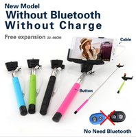 Wholesale Hot sell Z07 plus Self Shooting Stick Extendable Handheld Monopod Wired Audio Cable Take Pole for Iphone IOS Android Samsung