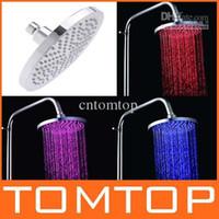 Cheap Hot Sale! Round LED top rain shower heads overhead shower Temperature-control Automatic Change 3 Colors H4745