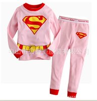 Wholesale Xayakids Pure cotton explosion models Long sleeve suit children go home printing baby girls cartoon Superman underclothes