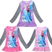 Wholesale Frozen Autumn Children Long Sleeve T shirts Cotton Cartoon Elsa Anna Girl T Shirt Dot Stripe Kids Clothing