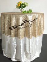 Wholesale Round Champagne Sequin TableCloth Wedding Beautiful Champagne Sequin Table Cloth Overlay Cover