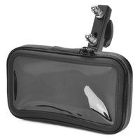Wholesale 2015 Real Motorcycle Rearview Mirror Bike Protective Water Resistant Bag W Mounting Holder For Cellphone Navigator Black