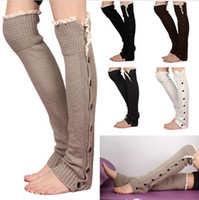Wholesale DDA3474 pairs New Hot Sale Women Long solid button down Lace Knitted Leg Warmers boot cuff lace knit leg warmers Lace Boot Cuff