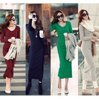 mid dress - Korean Fashion Women Maxi Dress Mid Calf Long Sleeve Pure Color Knitted Long Dress G0730