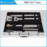 barbecue tool sets - High Quality Stainless Steel BBQ Grill Tools Set Barbecue Accessories Utensils Kit Spatula Tongs And Fork Tool Set